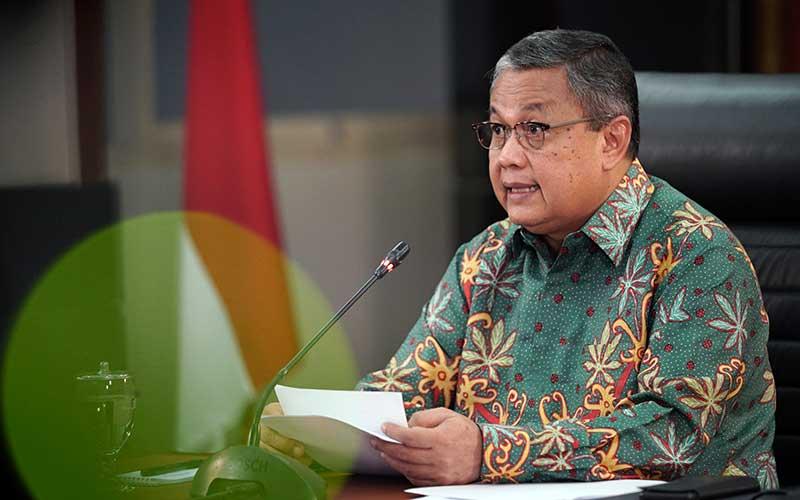 Gubernur Bank Indonesia Perry Warjiyo memberikan keterangan melalui streaming di Jakarta, Selasa (14/4 - 2020). Dok. Bank Indonesia