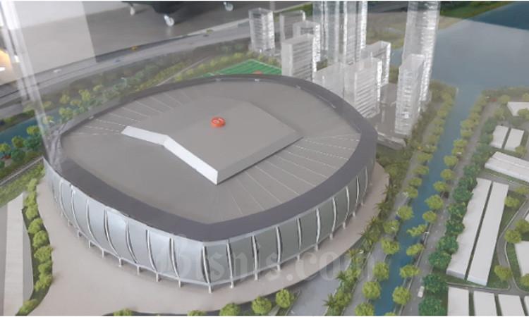Maket komplek Jakarta International Stadium (JIS). - Bisnis/Aziz Rahardyan