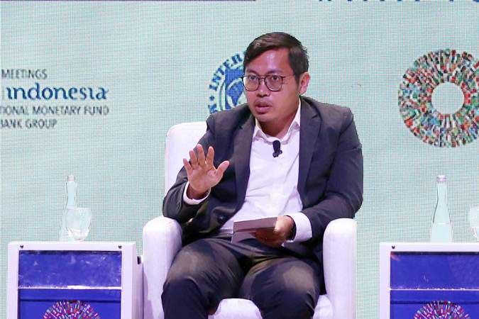 Achmad Zaky saat menjadi panelis dalam acara Youth at Work IMF Youth Dialogue, di Nusa Dua, Bali, Selasa (9/10/2018). - Bisnis/Abdullah Azzam