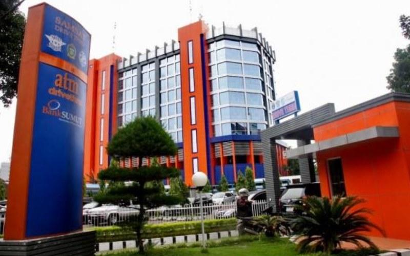 Ilustras- Foto Kantor Pusat Bank Sumut. PT Bank Pembangunan Daerah Sumatera Utara (Bank Sumut) salah satu BUMD Sumatera Utara yang menjadi penyumbang pendapatan daaerah.  - Istimewa