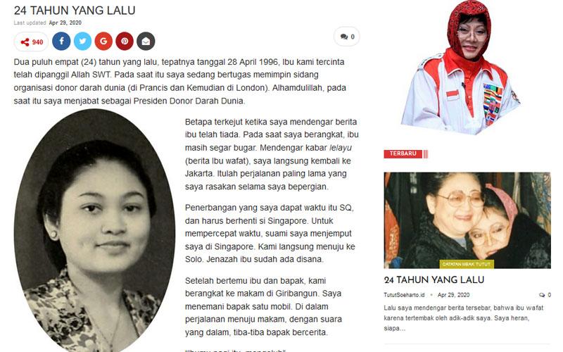 Memoar Mbak Tutut terkait meninggalkan Ibu Tien 28 April 1996