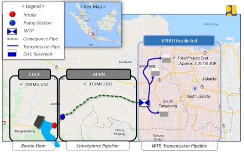 Peta proyek SPAM Karian-Serpong. - Kementerian PUPR
