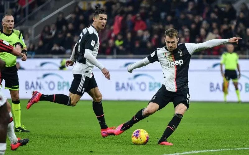 Pemain Juventus, Aaron Ramsey dan Cristiano Ronaldo - Antara