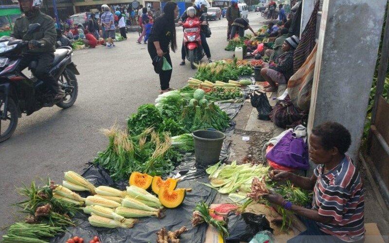 Pedagang tradisional di Jayawijaya. - Antara/Marius Frisson Yewun