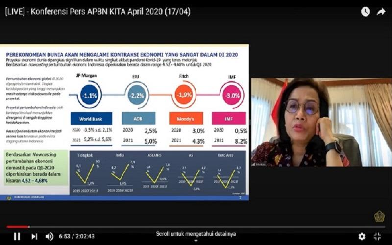 Menteri Keuangan Sri Mulyani Indrawati memaparkan kondisi terkini perekonomian Indonesia dalam sebuah teleconference, Jumat (17/4) - Kementerian Keuangan (Screenshoot)