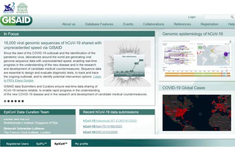 Tampilan laman resmi pusat data GISAID (gisaid.org) yang mendukung proses cepat dalam berbagi lebih dari 16.000 data virus Corona di seluruh dunia. Data sekuens lengkap pertama virus Corona dari Indonesia telah diunggah ke pusat data tersebut - Twitter/@eijkman_inst