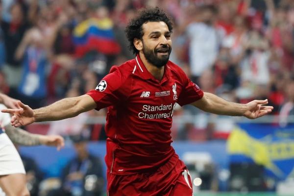 Mohamed Salah merayakan gol dari tendangan penalti dalam laga final Liga Champions 2019 antara Tottenham Hotspur vs Liverpool di stadion Wanda Metropolitano Madrid Spanyol, Minggu (2/6/2019) dini hari - REUTERS/Susana Vera