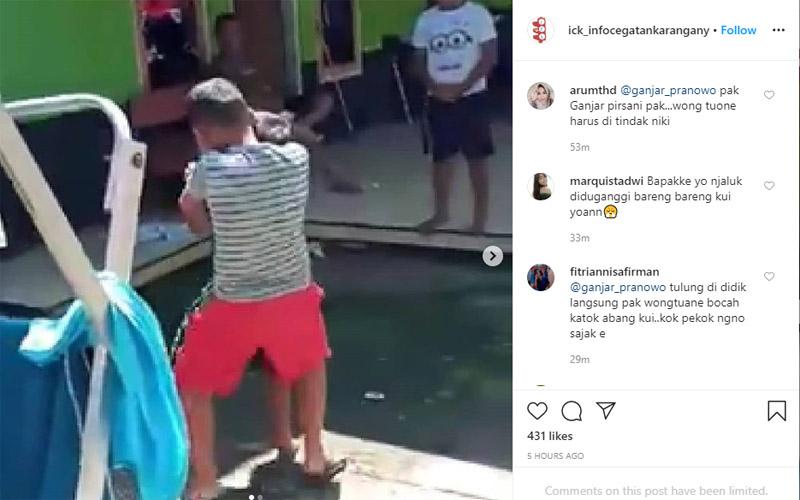 Anak membully teman dengan gaya smackdown. Foto: instagram ick_infocegatankaranganyar