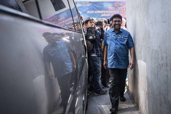 Presiden Konfederasi Serikat Pekerja Indonesia (KSPI) Said Iqbal diperiksa polisi dalam kaus hoaks dengan tersangka Ratna Sarumpaet - Antara