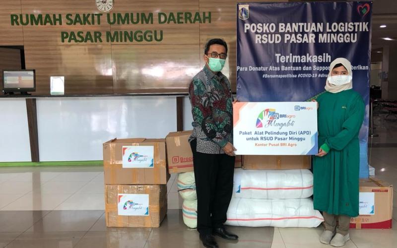 Penyerahan bantuan BRI Agro berupa APD ke RSUD Pasar Minggu - dokumen perusahaan