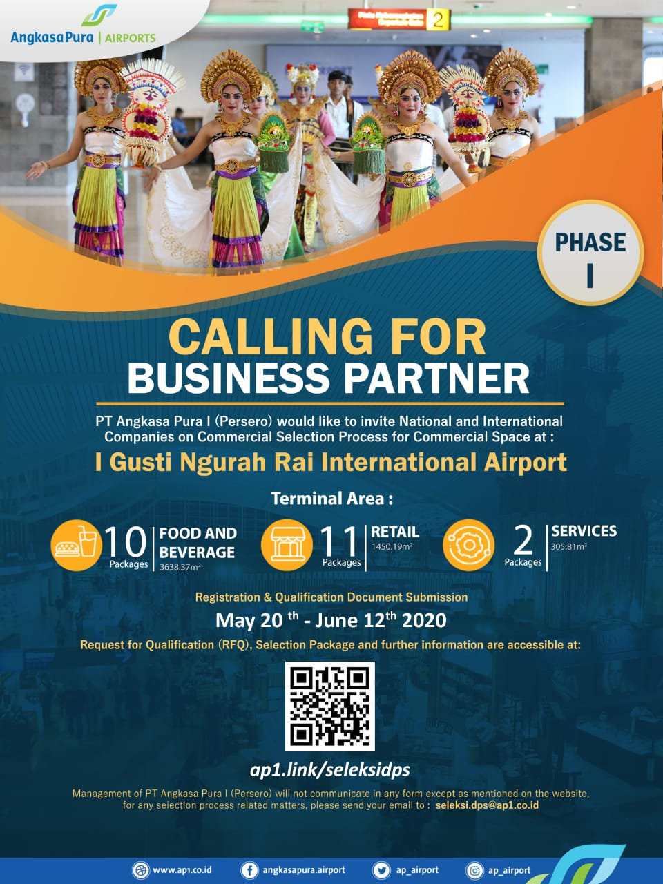 PT Angkasa Pura I (Persero) Kantor Cabang Bandara I Gusti Ngurah Rai Bali membuka seleksi mitra usaha (commercial business partner) dalam rangka menyambut kebangkitan industri pariwisata pada 2021 mendatang.