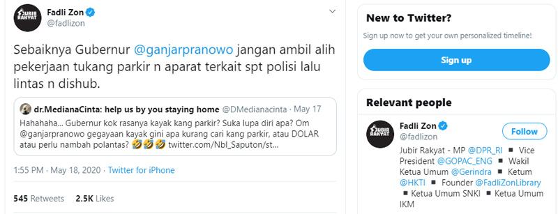 Cuitan Fadli Zon soal aksi Ganjar Pranowo atur lalu lintas
