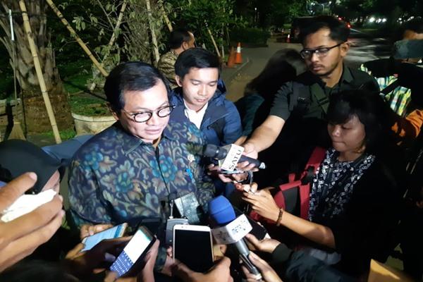 Sekretaris Kabinet Pramono Anung saat di kediaman Jusuf Kalla, Jakarta, Senin (17/15/2018). - Bisnis/M. Ridwan