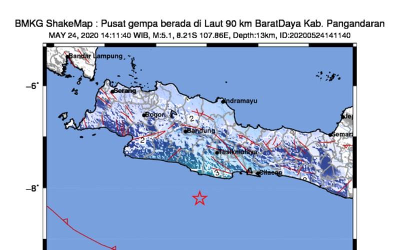 Infografis Gempa Pangandaran, Minggu (24/5/2020) - BMKG.