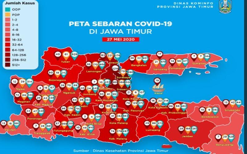 Sebaran Covid-19 di Jawa Timur - Twitter@JatimPemprov