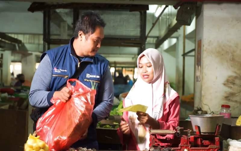 Salah satu pedagang di Pasar Dinoyo
