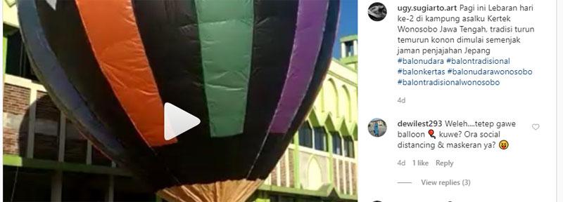 Peluncuran balon udara di Desa Jambusari Kecamatan Kertek Wonosobo Senin 25 Mei 2020