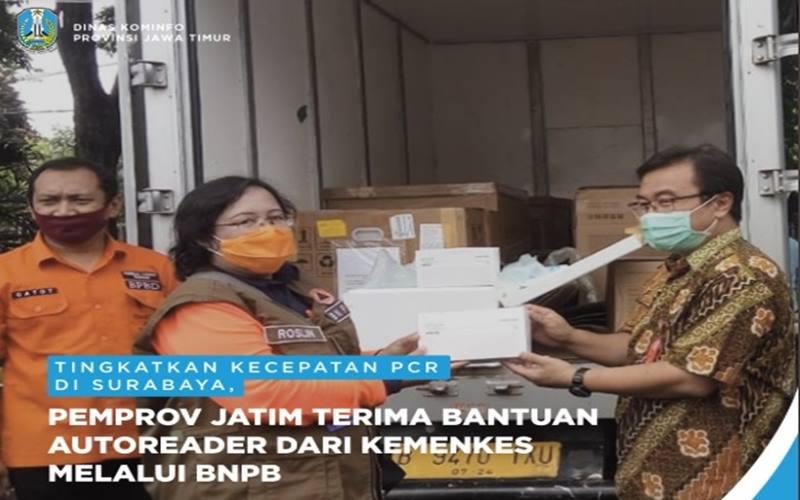 nPemprov Jatim menerima bantuan berupa mesin ekstraksi otomatis (autoreader) dari Kementerian Kesehatan. - Twitter @Jatim_Pemprov