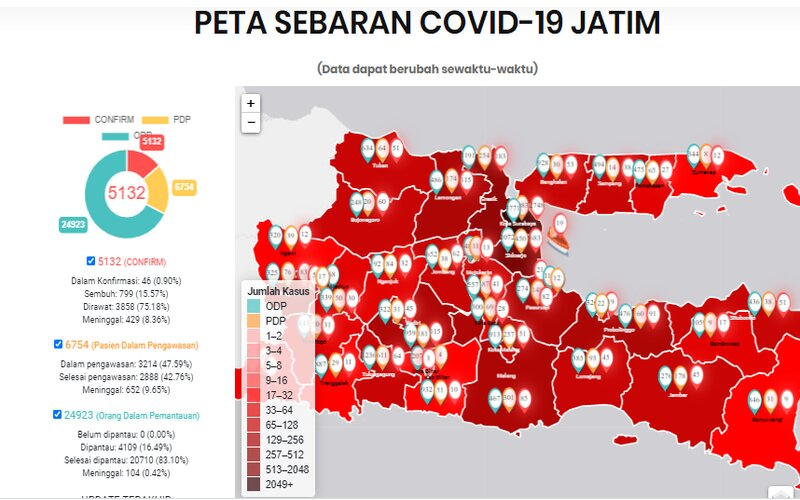 Peta sebaran Covid/19 yang dirilis Pemprov Jatim.