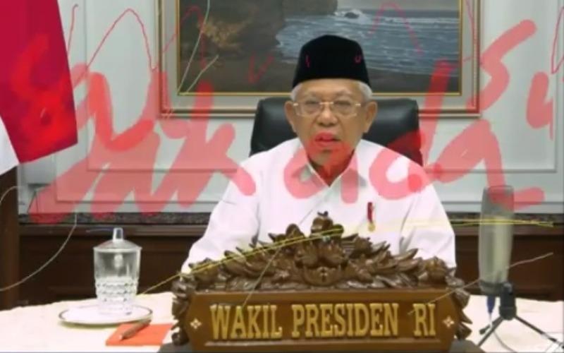 Tangkapan layar dari video live webinar ketika Wakil Presiden Ma'ruf Amin memberikan kata sambutan dalam webinar yang bertajuk Ekonomi Syariah di Indonesia: Kebijakan Strategis Pemerintah Menuju New Normal Life yang diselenggarakan UIN Malang pada Kamis (4/6/2020) - Istimewa.