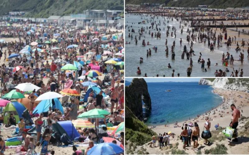 Wisatawan berbondong-bondong pergi ke pantai Dorset, Inggris. - Metro