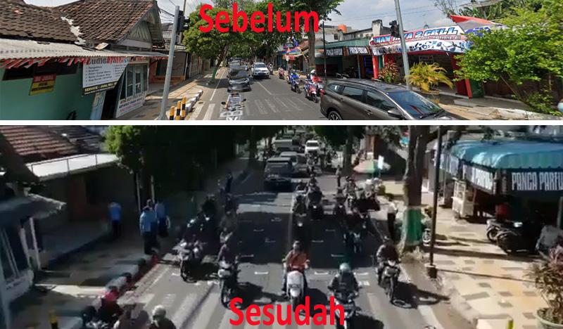 Traffic Light Jl. Basuki Rachmad Kabupaten Tuban sebelum dan sesudah diberi garis grid untuk mengatur jarak sepeda motor