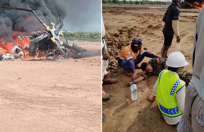 Kondisi Helikopter Mi 17 milik Penerbad TNI AD ludes terbakar. Enam orang selamat dan 3 orang meninggal akibat helikopter milik TNI AD itu jatuh di Kawasan Industri Kendal pada Sabtu (6/6 - 2020). Foto: istimewa
