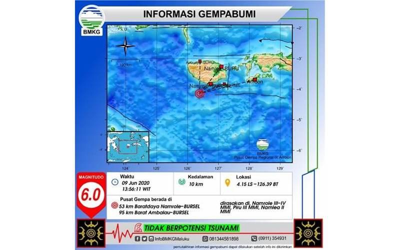 Informasi gempa bumi di wilayah Maluku, parameter yang tertera masih merupakan parameter awal sebelum parameter pembaruan - BMKG