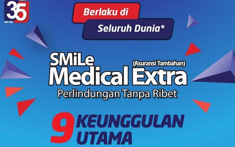 SMiLe Medical Extra (SMEX), asuransi tambahan dalam membantu mempertahankan kualitas fisik yang prima, diluncurkan untuk memenuhi preferensi masyarakat Indonesia yang ingin memperoleh penanganan kesehatan di rumah sakit terpercaya sehingga cenderung memilih berobat ke luar negeri. - Istimewa