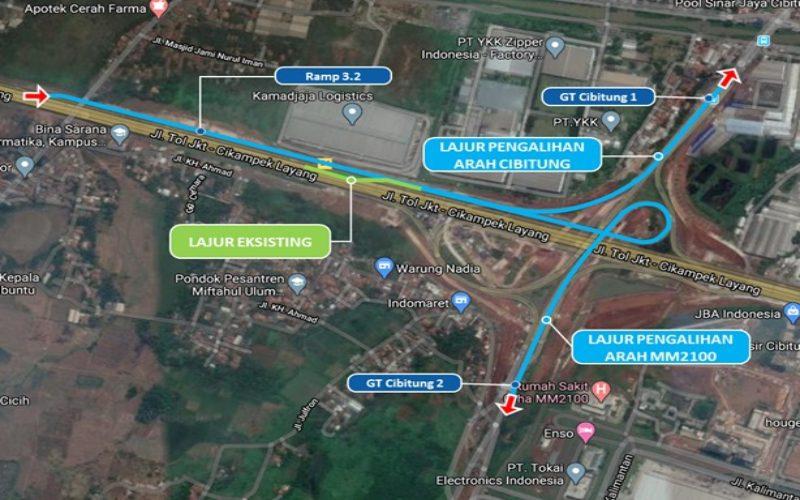 Denah pengalian arus di area Simpang Susun Cibitung.  - Jasamarga Transjawa Tollroad Regional Division