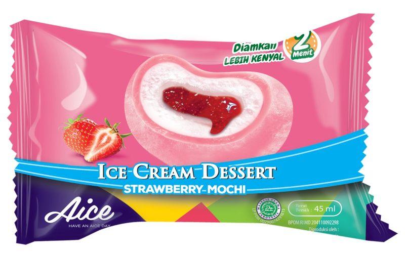 Es krim Aice rasa strawberry mochi. - istimewa