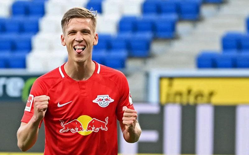 Gelandang serang RB Leipzig Dani Olmo selepas menjebol gawang Hoffenheim. - Bundesliga.com