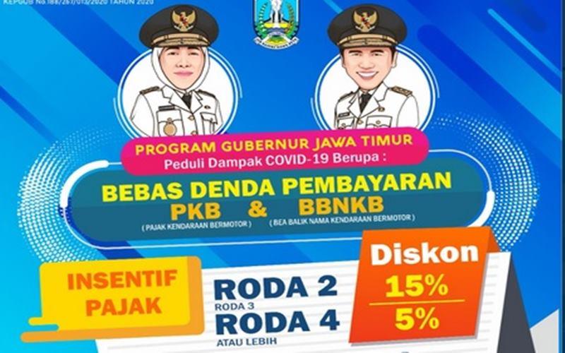 Pemprov Jawa Timur memberlakukan insentif pajak sebagai peduli dampak Covid-19. Insentif itu untuk PKB dan BBNKB. - Twitter @JatimPemprov