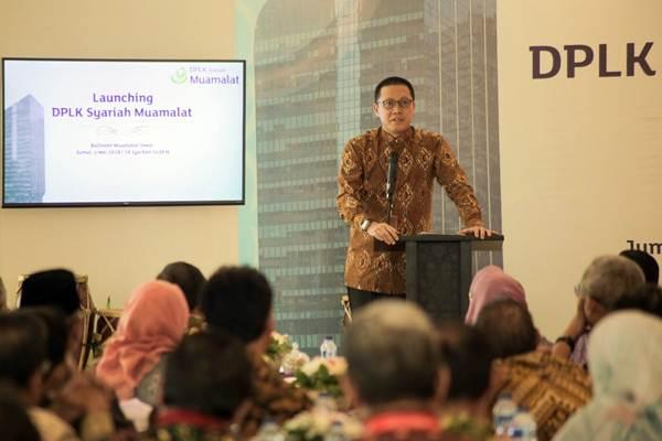 Direktur Utama PT Bank Muamalat Indonesia Tbk (Bank Muamalat) Achmad Kusna Permana memberikan sambutan dalam acara peluncuran DPLK Syariah Muamalat di Jakarta, Jumat (4/5/2018). - JIBI/Felix Jody Kinarwan