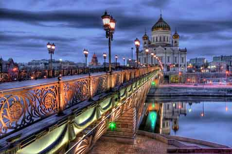 Pemandangan salah satu sudut kota di Rusia