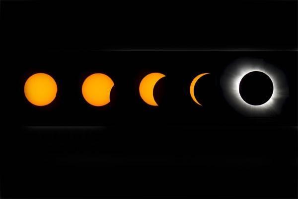Foto kombinasi menunjukkan beberapa fase gerhana matahari. - Reuters