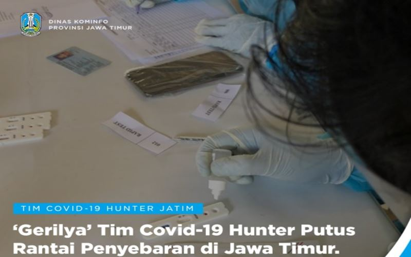Tim Covid-19 Hunter Jawa Timur menggelar pemeriksaan massal virus corona di 10 kota dan kabupaten. - Twitter @PemprovJatim