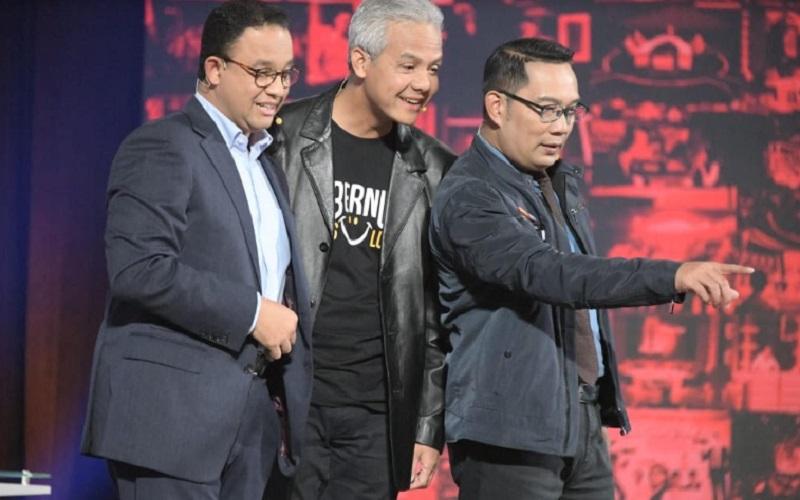 Gubernur DKI Anies Baswedan, Gubernur Jawa Tengah Ganjar Pranowo, dan Gubernur Jawa Barat Ridwal Kamil tampil dalam sebuah acara TV - Istimewa