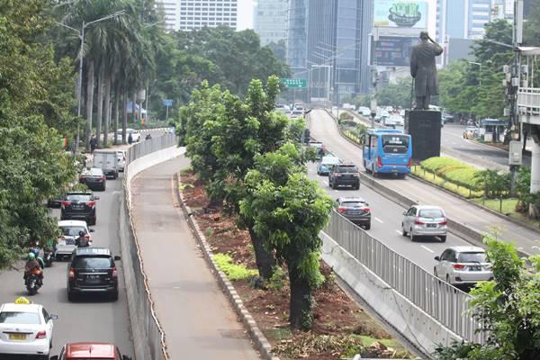 Kendaraan melintas di samping pohon-pohon di kawasan Jalan Sudirman, Jakarta, Kamis (8/3). Pemerintah Provinsi DKI Jakarta berencana untuk menata ulang kawasan Sudirman-Thamrin, yang berdampak pada ditebangnya pohon-pohon teduh di kawasan tersebut. ANTARA FOTO - Reno Esnir