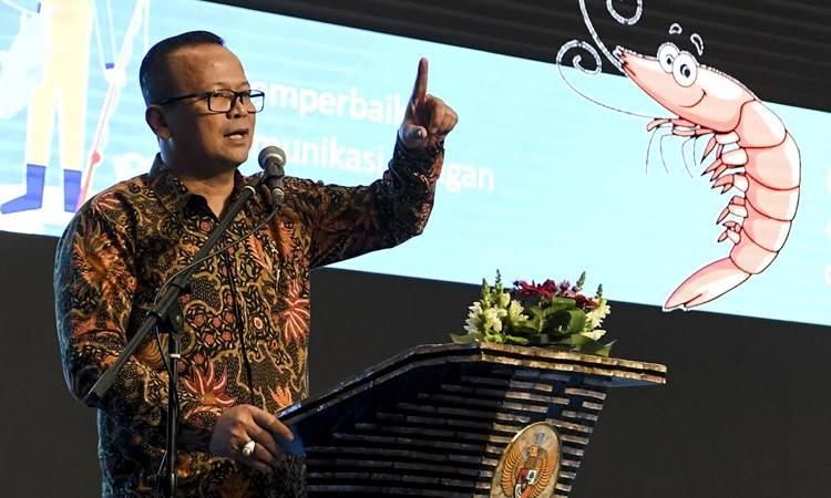 Menteri Kelautan dan Perikanan Edhy Prabowo menyampaikan pidato saat Rakornas KKP di Jakarta, Rabu (4/12/2019). - ANTARA /Hafidz Mubarak A