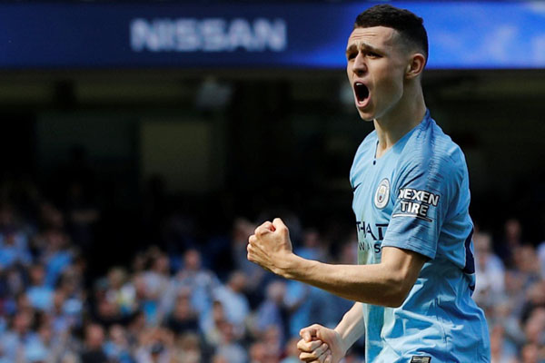 Gelandang Manchester City Phil Foden. - Reuters/Phil Noble