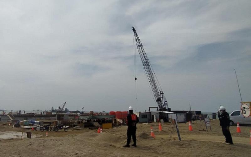 Proyek pembangunan Pelabuhan Patimban di Kabupaten Subang, Jawa Barat - Bisnis/Dea Andriyawan