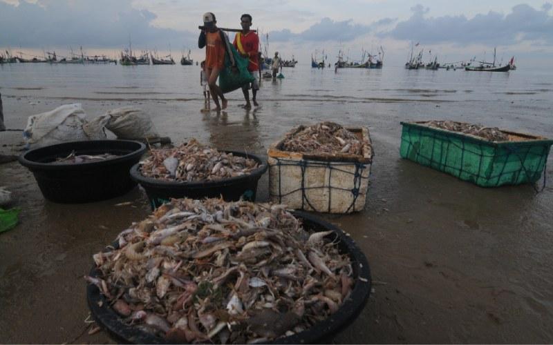 Nelayan menurunkan ikan tangkapannya di Pantai Jumiang, Pamekasan, Jawa Timur, Selasa (7/4 - 2020). ANTARA