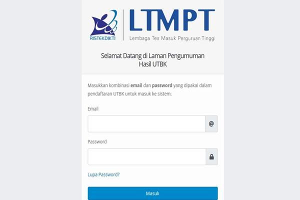Laman pengumuman hasil UTBK SBMPTN - ltmpt.ac.id