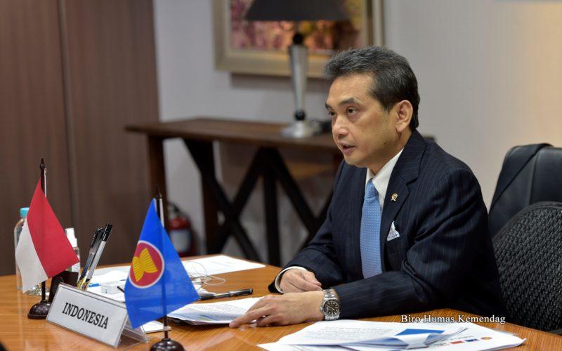 Menteri Perdagangan Agus Suparmanto dalam Pertemuan Intersesi Menteri RCEP.  - Dok. Kemendag