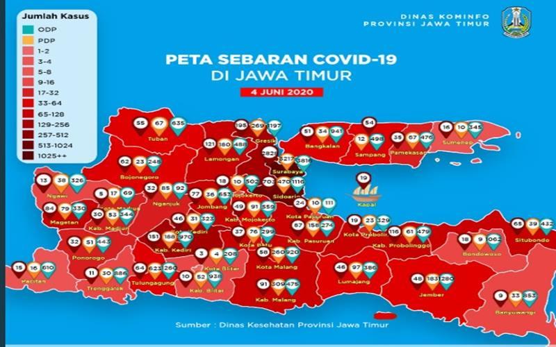 Sebaran kasus Covid-19 di Jawa Timur. Ilustrasi. - Twitter