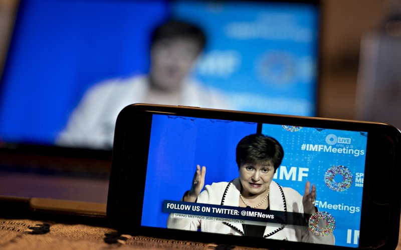 Managing Director International Monetary Fund (IMF) Kristalina Georgieva dalam konferensi pers virtual Spring Meetings 2020 - Bloomberg / Andrew Harrer