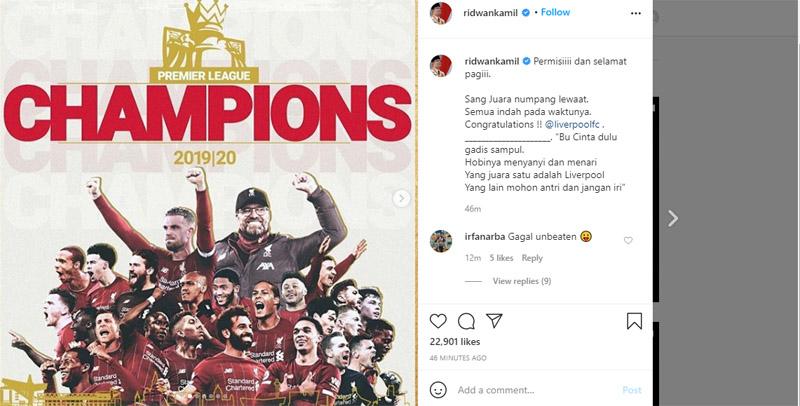 Pantun Gubernur Jawa Barat Ridwan Kamil untuk Juara Liga Inggris Liverpool