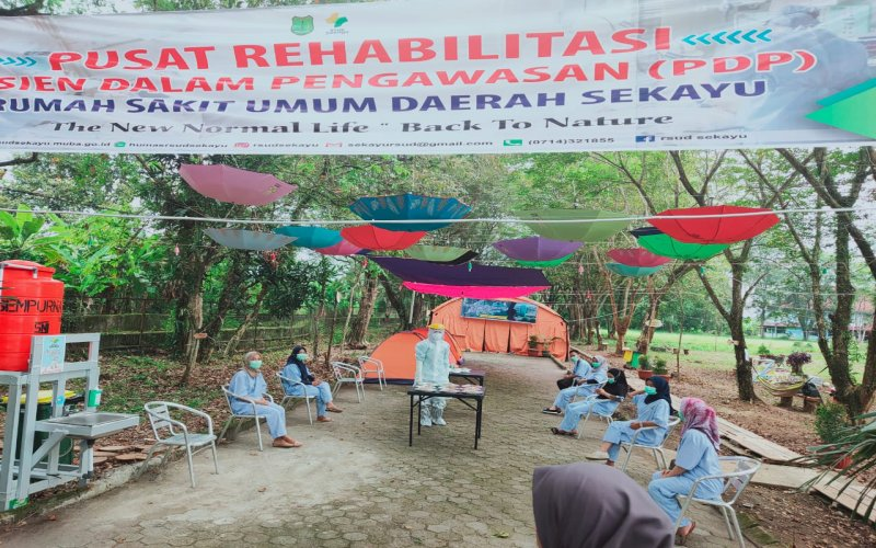 Pasien Dalam Pengawasan (PDP) Covid/19 di Kabupaten Musi Banyuasin mengikuti kegiatan yang ada di RSUD Sekayu. istimewa