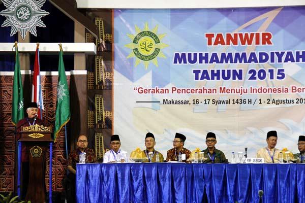 Din Syamsudin (kiri) ketika menjabat sebagai ketua pimpinan pusat Muhammadiyah, Sabtu (1/8 - 2015) / ANTARA